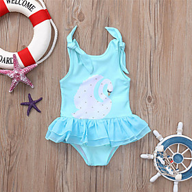 Kids Girls' Basic Print Lace Print Sleeveless Swimwear Blue