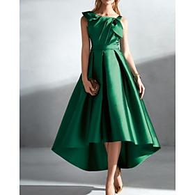 A-Line Elegant Vintage Wedding Guest Prom Dress Jewel Neck Sleeveless Asymmetrical Satin with Pleats 2020