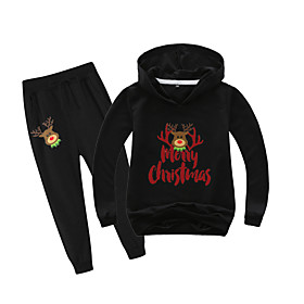 Kids Boys' Active Christmas Daily Wear Santa Claus Print Letter Patchwork Print Long Sleeve Regular Clothing Set Black