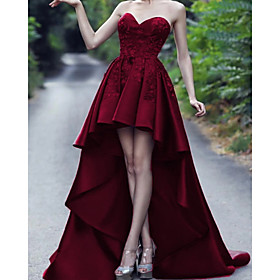 A-Line Luxurious Sexy Wedding Guest Formal Evening Dress Sweetheart Neckline Sleeveless Asymmetrical Satin with Pleats 2020