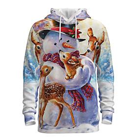 Men's Christmas Pullover Hoodie Sweatshirt 3D Graphic Reindeer Hooded Christmas Hoodies Sweatshirts  Long Sleeve Purple