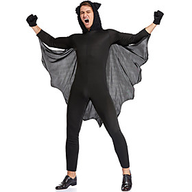 Bat Party Costume Costume Adults' Women's One Piece Halloween Festival / Holiday Polyester Black Women's Easy Carnival Costumes / Leotard / Onesie / Gloves