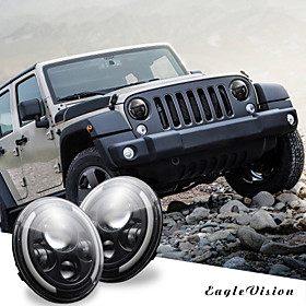 1Pcs 7 Inch Round Black Cree LED Headlight High Low Beam 150W 15000IMS with 4LED Light Bulbs Compatible with Jeep Wrangler JK TJ LJ CJ Hummber H1 H2 (Pair)