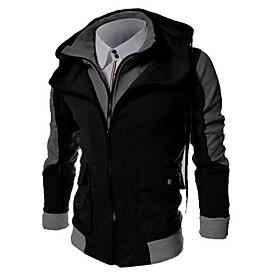 Men's Daily Hoodie Zip Up Hoodie Color Block Hooded Basic Hoodies Sweatshirts  Long Sleeve Black Light gray Dark Gray / Sports / Spring / Fall