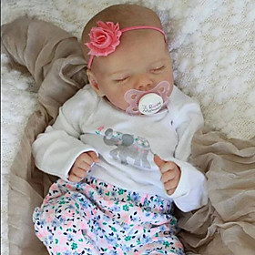17 inch Reborn Doll Baby  Toddler Toy Baby Girl Reborn Baby Doll lifelike Hand Made Simulation Hand Applied Eyelashes Floppy Head Cloth Silicone Vinyl with Clo
