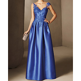 A-Line Elegant Beautiful Back Wedding Guest Formal Evening Dress V Neck Sleeveless Floor Length Lace Satin with Appliques 2020