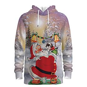 Men's Christmas Pullover Hoodie Sweatshirt 3D Graphic Scenery Hooded Christmas Hoodies Sweatshirts  Long Sleeve Khaki