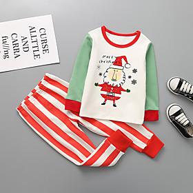 Kids Boys' Basic Christmas Santa Claus Cartoon Letter Print Long Sleeve Regular Clothing Set Red