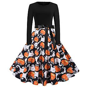 Pumpkin Dress Adults Women's Vacation Dress Halloween Halloween Festival / Holiday Polyster Black Women's Easy Carnival Costumes