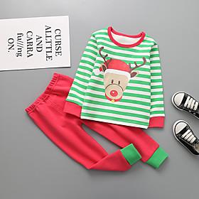 Kids Boys' Basic Christmas Santa Claus Striped Cartoon Print Long Sleeve Regular Clothing Set Red