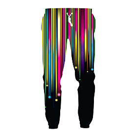 Men's Exaggerated Casual Going out Sweatpants Pants 3D Patterned Sporty Print Drawstring Sports Rainbow M L XL