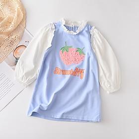 Kids Girls' Basic Color Block Fruit Print Long Sleeve Above Knee Dress Blushing Pink