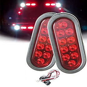 2Pcs 4W 10LED Oval Trailer Lights Super Bright Red Brake Turn Stop Marker Reverse Tail Lights with Waterproof Rubber Gaskets for Boat Trailer Truck RV