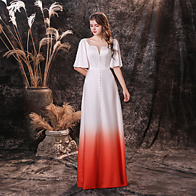 A-Line Color Block Maxi Prom Formal Evening Dress Jewel Neck Half Sleeve Floor Length Chiffon Tulle with Sleek Buttons 2020