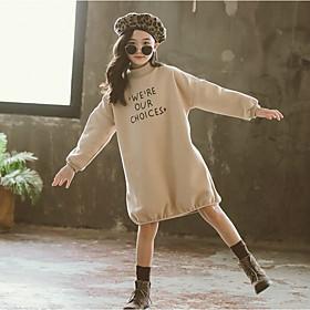 Kids Girls' Active Cute Letter Print Long Sleeve Above Knee Dress Khaki