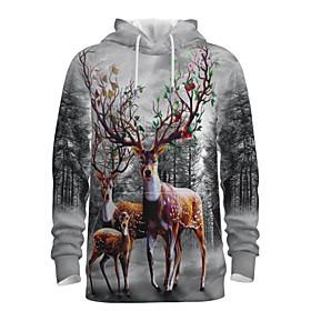 Men's Christmas Pullover Hoodie Sweatshirt 3D Graphic Reindeer Hooded Christmas Hoodies Sweatshirts  Long Sleeve Gray