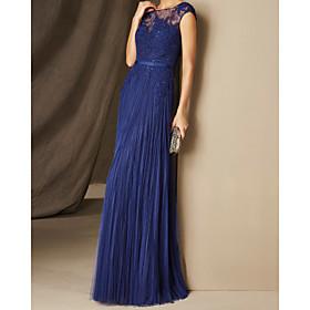 A-Line Elegant Empire Wedding Guest Formal Evening Dress Illusion Neck Short Sleeve Floor Length Chiffon with Pleats 2020