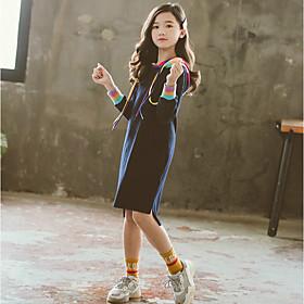 Kids Girls' Active Cute Patchwork Patchwork Long Sleeve Knee-length Dress Dusty Blue