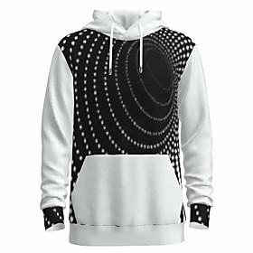 Men's Daily Pullover Hoodie Sweatshirt 3D Abstract Graphic Hooded Basic Hoodies Sweatshirts  Long Sleeve Black