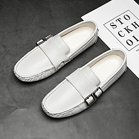 Men's Loafers  Slip-Ons Casual Daily Walking Shoes Sheepskin Breathable Non-slipping Wear Proof White / Black / Brown Fall