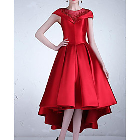 A-Line Elegant Luxurious Wedding Guest Cocktail Party Dress Illusion Neck Short Sleeve Asymmetrical Satin with Pleats 2020