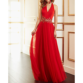 A-Line Beautiful Back Sexy Wedding Guest Formal Evening Dress V Neck Sleeveless Floor Length Tulle with Sash / Ribbon Pleats Appliques 2020