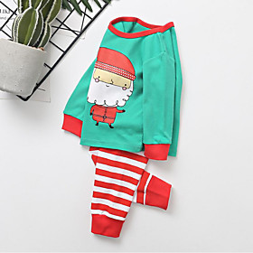 Kids Boys' Active Basic Christmas Santa Claus Print Print Long Sleeve Regular Clothing Set Green