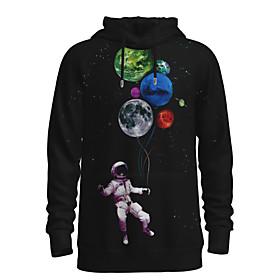 Men's Daily Pullover Hoodie Sweatshirt 3D Graphic Astronaut Hooded 3D Print Casual Hoodies Sweatshirts  Long Sleeve Black