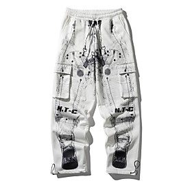 Men's Basic Daily Tactical Cargo Pants Letter Breathable White M L XL