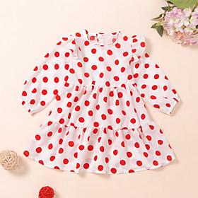 Kids Girls' Active Cute White Heart Print Long Sleeve Knee-length Dress White