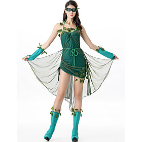 Cosplay Costume Costume Adults' Women's Sexy Ethnic  Interracial Vacation Dress Halloween Festival / Holiday Polyester Green Women's Easy Carnival Costumes / G
