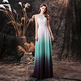 A-Line Color Block Minimalist Prom Formal Evening Dress Jewel Neck Sleeveless Floor Length Chiffon with Appliques 2020