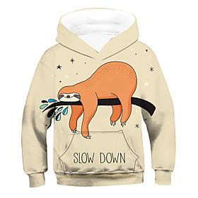 Kids Boys' Active Basic 3D Animal Drawstring Long Sleeve Hoodie  Sweatshirt Beige
