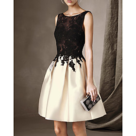 A-Line Beautiful Back Sexy Party Wear Cocktail Party Dress Illusion Neck Sleeveless Short / Mini Lace Satin with Pleats Lace Insert 2020
