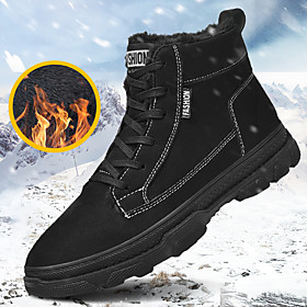 Men's Boots Sporty / Classic / Casual Daily Outdoor Cycling Shoes / Walking Shoes Faux Leather Warm Waterproof Non-slipping Black / Brown / Gray Fall / Winter