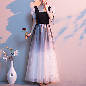 A-Line Color Block Glittering Wedding Guest Formal Evening Dress Scoop Neck Short Sleeve Floor Length Tulle with Sequin 2020