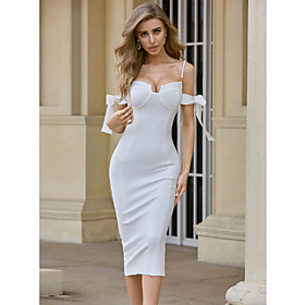 A-Line Beautiful Back Sexy Wedding Guest Engagement Dress Scoop Neck Sleeveless Tea Length Spandex with Bow(s) Pearls 2020