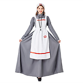 Maid Costume Outfits Adults' Women's Halloween Christmas Halloween Festival / Holiday Polyester Gray Women's Easy Carnival Costumes