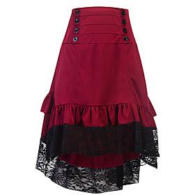 Women's Basic Asymmetrical Skirts Color Block Lace
