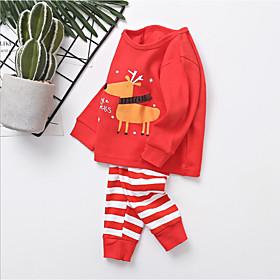 Kids Boys' Active Basic Christmas Santa Claus Print Print Long Sleeve Regular Clothing Set Red