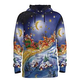 Men's Christmas Pullover Hoodie Sweatshirt 3D Graphic Reindeer Hooded Christmas Hoodies Sweatshirts  Long Sleeve Blue
