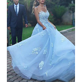 A-Line Beautiful Back Sexy Prom Formal Evening Dress Spaghetti Strap Sleeveless Court Train Lace Tulle with Lace Insert Appliques 2020