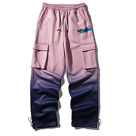 Men's Basic Daily Tactical Cargo Pants Letter Breathable Blue Blushing Pink M L XL