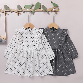 Kids Girls' Active Sweet Black White Solid Colored Print Long Sleeve Knee-length Dress White