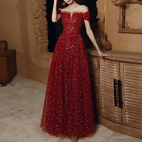 A-Line Elegant Glittering Wedding Guest Engagement Dress Illusion Neck Short Sleeve Floor Length Tulle with Pleats Sequin 2020