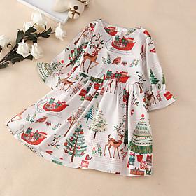 Kids Girls' Basic Cute White Christmas Print Long Sleeve Knee-length Dress White