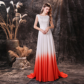 A-Line Color Block Maxi Prom Formal Evening Dress Jewel Neck Sleeveless Sweep / Brush Train Chiffon with Appliques 2020