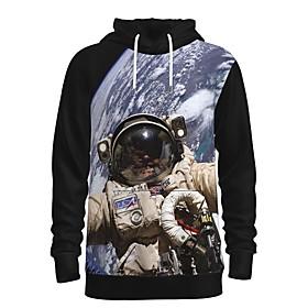 Men's Daily Pullover Hoodie Sweatshirt 3D Graphic Astronaut Front Pocket Hooded 3D Print Casual Hoodies Sweatshirts  Long Sleeve Gray