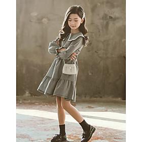 Kids Girls' Basic Cute Check Ruched Print Long Sleeve Above Knee Dress Black