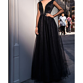 A-Line Elegant Minimalist Wedding Guest Prom Dress Scoop Neck Long Sleeve Sweep / Brush Train Tulle with Pleats 2020
